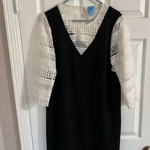 CeCe black mini dress with lace sleeves